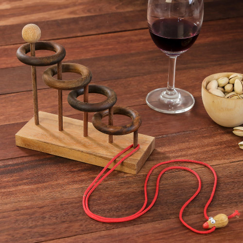 Handcrafted Rain Tree Wood Game from Thailand 'Release My Mouse'