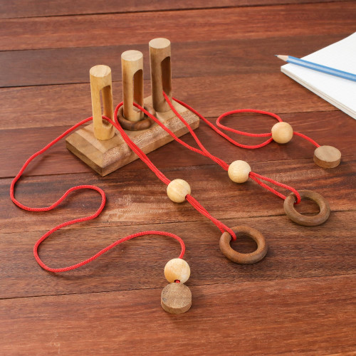 Handmade Rain Tree and Rubber Wood Game from Thailand 'Gordian Gates'