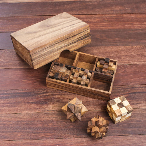 Handcrafted Set of Six Wooden Puzzles from Thailand 'Puzzle Set'