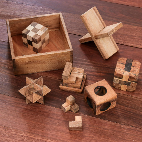 Handmade Set of Five Wooden Puzzles from Thailand 'Five Puzzles'