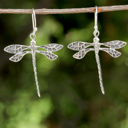 Dragonfly Sterling Silver Dangle Earrings from Thailand 'Skyward Wanderers'
