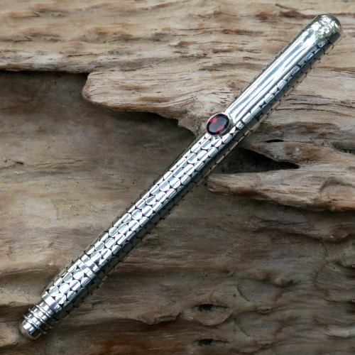 Handmade Sterling Silver Ballpoint Pen from Indonesia 'Silver Bubbles'