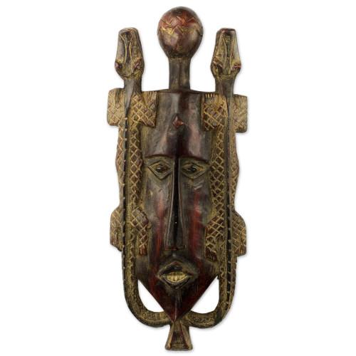 Artisan Crafted Ghanaian Wood Wall Mask with Lizard Motif 'Twin Lizards'