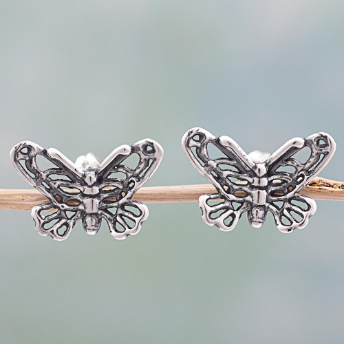 Sterling Silver Button Earrings Butterfly Shape from Mexico 'Flight of the Butterfly'