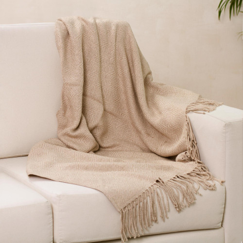 Alpaca Acrylic Blend Throw Blanket in Sand from Peru 'Sandy Passion'