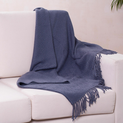 Alpaca and AcrylicThrow Blanket with Fringe in Denim Blue 'Puno Traditions in Blue'