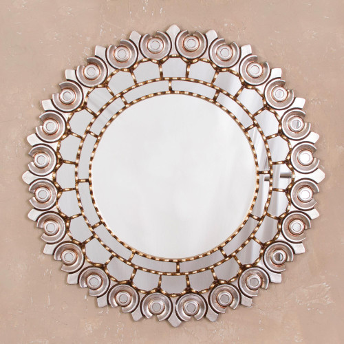 Antiqued Round Mohena Wood Wall Mirror from Peru 'Peruvian Lily'