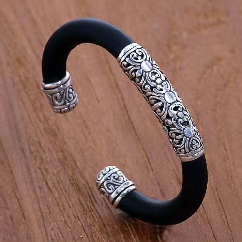 Sterling Silver and Rubber Bangle Bracelet from Indonesia 'Untouched'