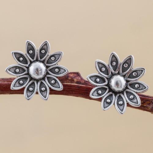 Sterling Silver Floral Stud Earrings from Peru 'Spreading Lotus'