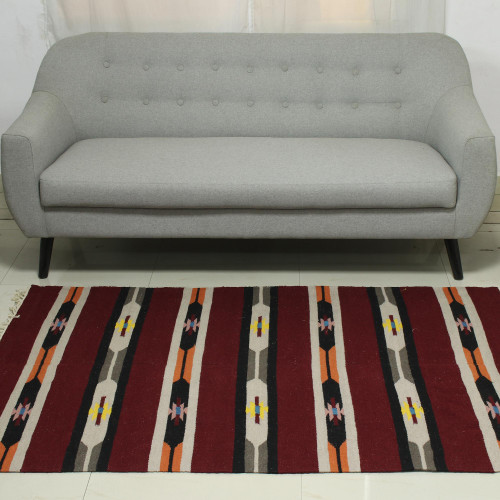Hand Woven Striped Wool Area Rug in Cherry 4x6 from India 'Cherry Delight'