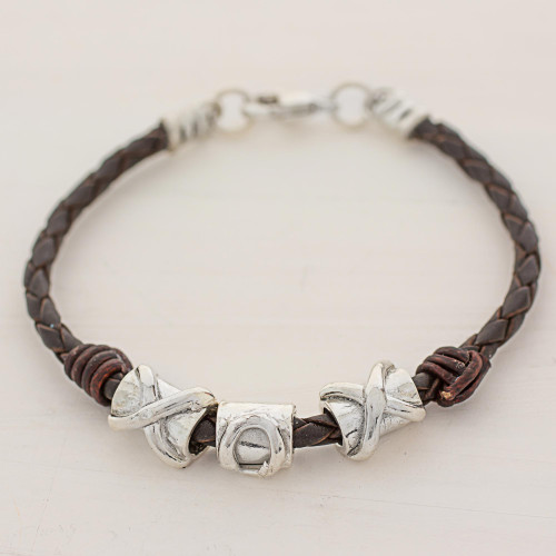 999 Silver Brown Pendant Wristband Bracelet from Guatemala 'Silver Love in Brown'