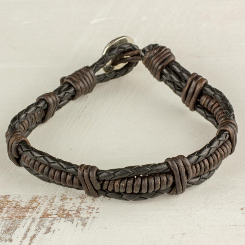 Fine Silver and Leather Braided Wristband Bracelet in Brown 'Casual Style'