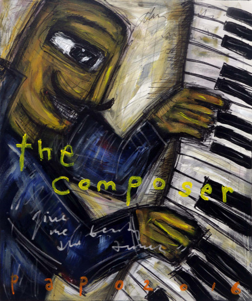 Music Man on the Piano Caricature Style Signed Painting 'The Composer'