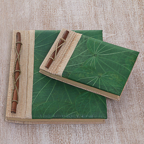 Handcrafted Pair of Rice Paper Notebooks from Indonesia 'Autumn Spirit in Green'