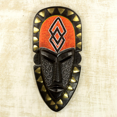 Hand Crafted African Wood Mask with Beads and Brass Accents 'Beaded Warrior'
