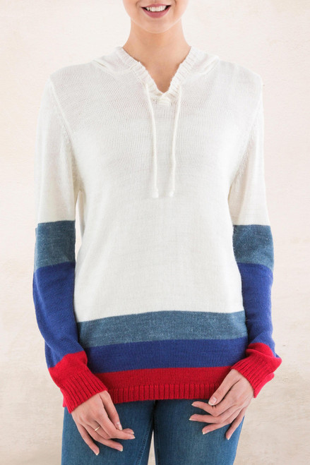 Ivory Hoodie Sweater with Blue and Red Stripes 'Ivory Imagination'