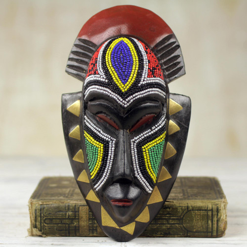 Handmade Wood Wall Mask with Glass Bead and Brass Accent 'Jama'