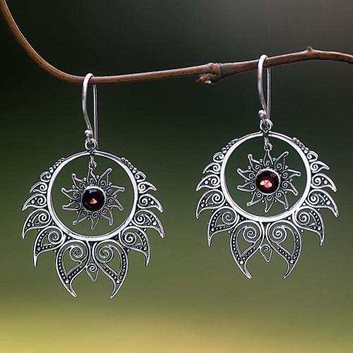 Sterling Silver Garnet Dangle Earrings Sun Motif Indonesia 'Shiva's Fire'