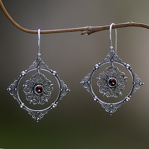 Hand Made Sterling Silver Garnet Dangle Earrings Indonesia 'Red Vibrations'