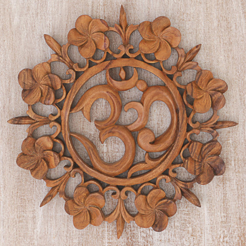 Hand Carved Wood Wall Relief Floral Om from Indonesia 'Om is Life'