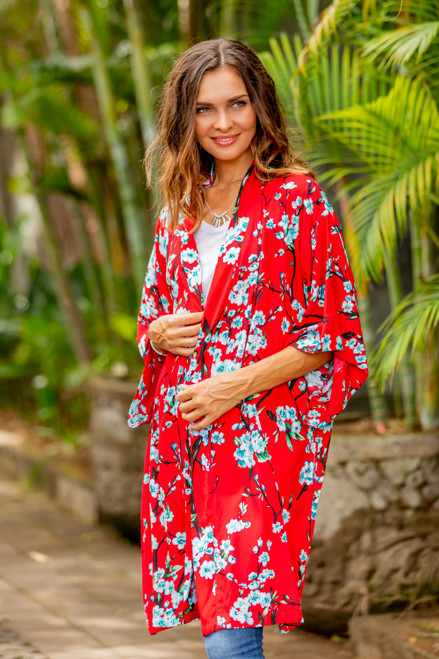 Floral Rayon Robe in Candy Apple and Ivory from Indonesia 'Holy Jasmine'