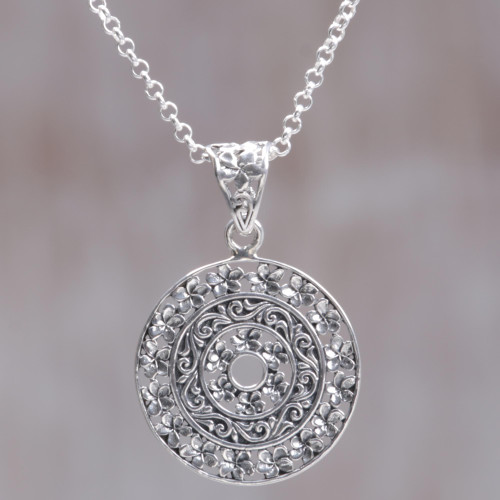 Circular Floral Sterling Silver Pendant Necklace Indonesia 'Frangipani Altar'