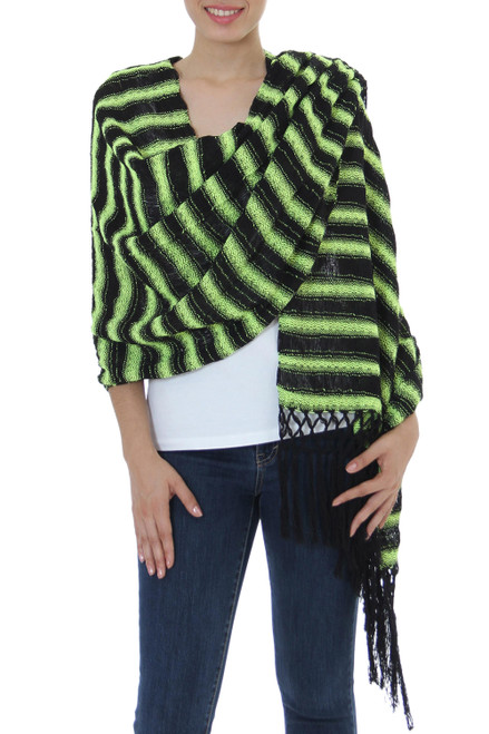 Hand Woven Cotton Shawl Chartreuse Stripes from Mexico 'Chartreuse Journey'