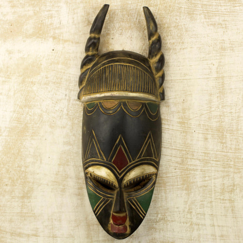 Ghanaian Hand Carved Horned Mask in Black and Gold 'Twisted Horn'