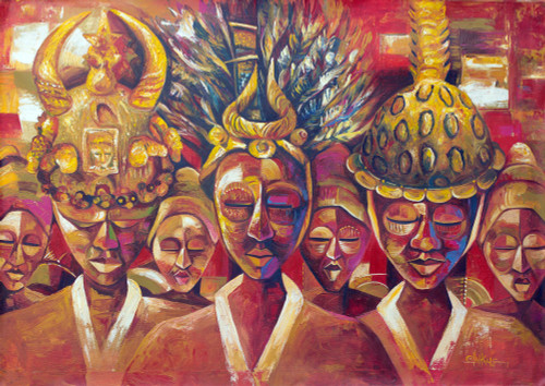 Red Cultural Painting of People from Ghana 'Hierarcy of Ashanti Chieftancy'