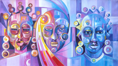 Multicolored Cubist Painting of People from Ghana 'Beauty Contest'