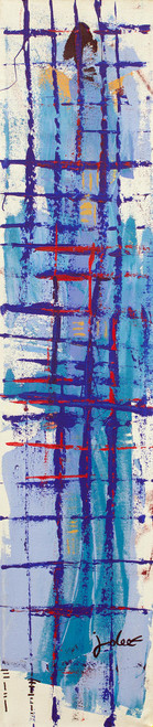 Tall Blue Abstract Art Signed Painting from Ghana 'Rhythm'