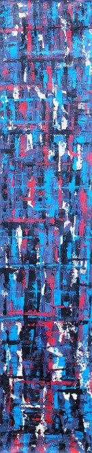 Dark Blue Abstract Acrylic Signed Painting from Ghana 'Emotions'