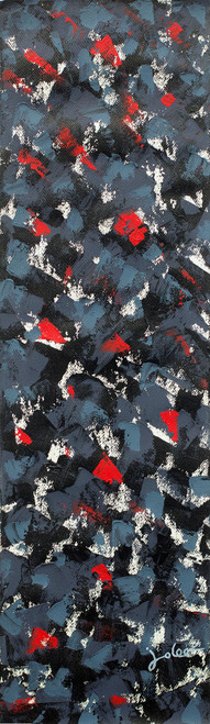 Dark Grey Abstract Acrylic Signed Painting from Ghana 'Paths'