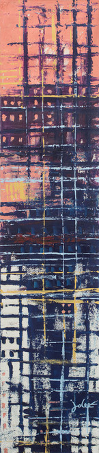 Line Motif Abstract Acrylic Signed Painting from Ghana 'Reflection II'