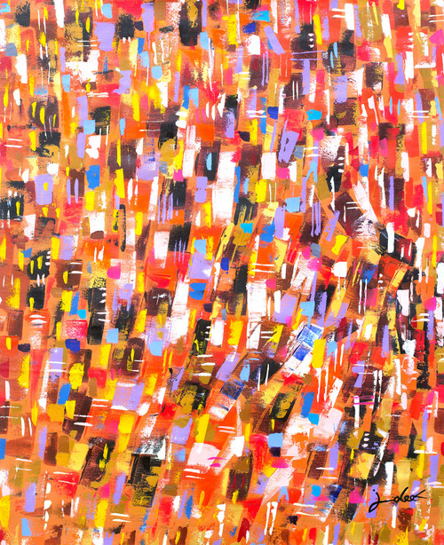 Multicolor Abstract Painting Signed Art from Ghana 'Refined'