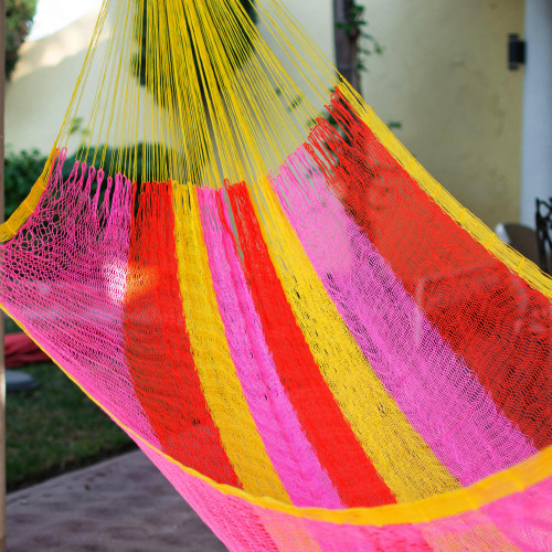 Hand Woven Nylon Pink Yellow Hammock Single from Mexico 'Candy Delight'