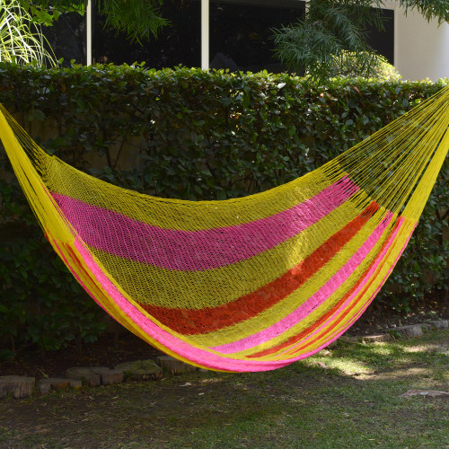 Hand Woven Nylon Pink Yellow Hammock Double from Mexico 'Candy Delight'