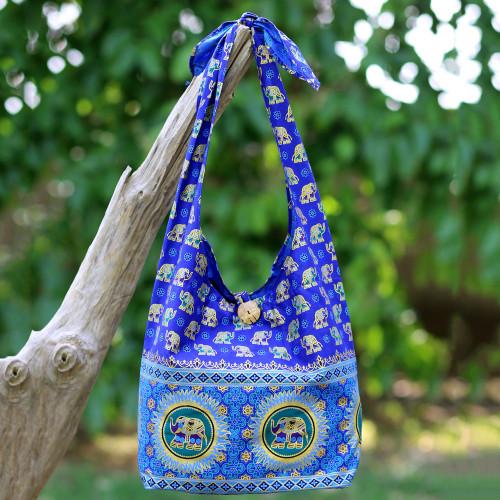 Handmade Blue Cotton Shoulder Bag with Elephant Motif 'Royal Thai Elephant'