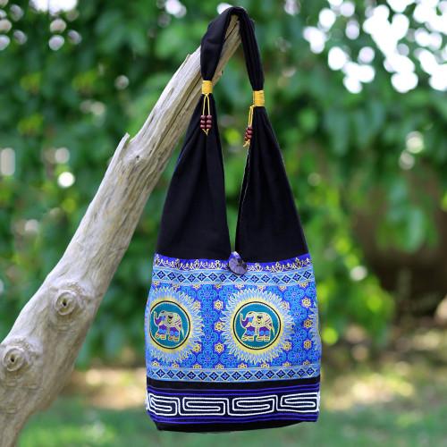Blue and Black Cotton Blend Shoulder Bag with Elephant Motif 'Spiral and Shine'