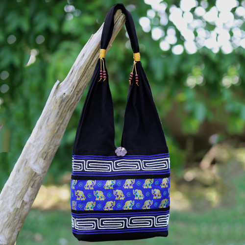 Black and Blue Cotton Blend Shoulder Bag from Thailand 'Thai Siam'