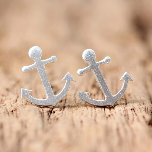 Sterling Silver Nautical Anchor Stud Earrings from Thailand 'Ship Anchors'