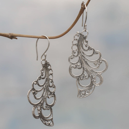 Sterling Silver Dangle Earrings Openwork Spiral Indonesia 'New Leaves'