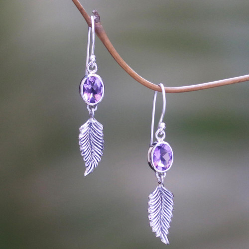 Handmade Sterling Silver and Amethyst Dangle Earrings 'Passionate Hope'