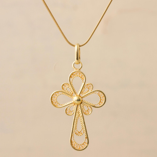 Gold Plated Sterling Silver Filigree Pendant Necklace Peru 'Christian Hope'