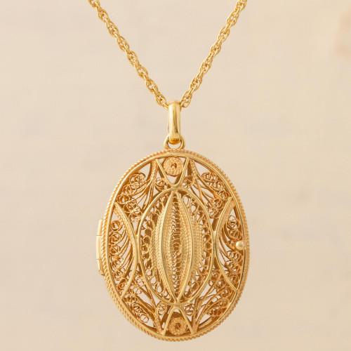 Gold Plated Sterling Silver Locket Pendant Necklace Peru 'Valuable Secrets'