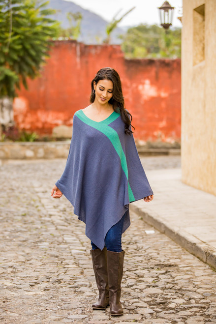 Peruvian Knit Bohemian Drape Poncho in Blue and Green 'Blue and Green Twilight'