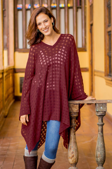 Bohemian Style One Size Fits Most Burgundy Poncho from Peru 'Burgundy Shadow'