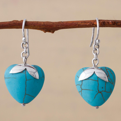Sterling Silver Reconstituted Turquoise Dangle Earrings Peru 'Sky Blue Hearts'