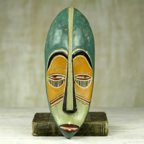 Hand Carved Painted Rubberwood Mask from Ghana 'Bring Good News'
