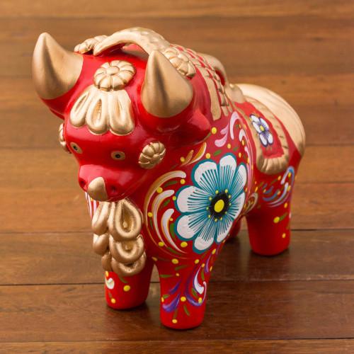 Red Painted Ceramic Bull Folk Art Figurine from Peru 'Big Red Pucara Bull'